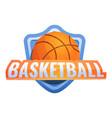basketball shield ball logo cartoon style vector image