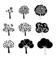 black tree icons vector image vector image