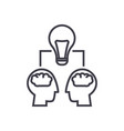 brainstorm heads with lamp vector image