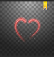 bright neon heart heart sign on dark transparent vector image vector image