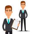 business man cartoon character vector image vector image