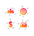 business signs graph chart and globe icons vector image vector image