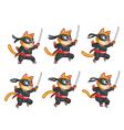 Cat Ninja Jumping Sprite vector image vector image