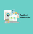certified accountant ca paper calculator laptop vector image