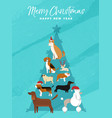 christmas and new year pine tree dog greeting card vector image