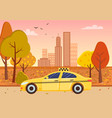 city street taxi and fall cityscape skyscrapers vector image vector image