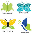 collection beautiful butterfly logos vector image vector image