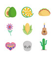 collection mexican food culture traditonal icons vector image