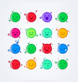 colorful cute flat style emoji emoticon icon set vector image vector image