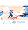 concept banner with young woman jogging with large vector image vector image
