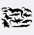 Crocodile reptile wild animal silhouettes