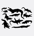 Crocodile reptile wild animal silhouettes vector image vector image