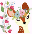 cute little deer in apple branch frame vector image vector image