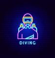 diving neon label vector image vector image