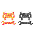 dotted car repair mosaic icons vector image