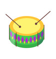 drum with sticks cartoon flat icon vector image vector image