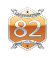 Eighty two years anniversary celebration silver vector image vector image