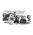 farm with trees and tractor harvesting hay vector image vector image