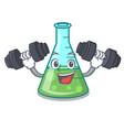 fitness science beaker character cartoon vector image vector image