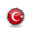 flag of turkey button with metal frame and shadow vector image