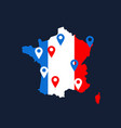 france map with colored geolocation point vector image vector image