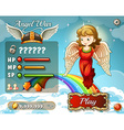 Game template with angel in the sky vector image vector image