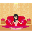 girl sits and meditates vector image vector image