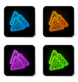 glowing neon nachos icon isolated on white vector image vector image