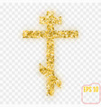 gold christian cross gold stars confetti vector image