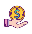 hand with money coin strategy digital marketing vector image