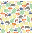 Hedgehog in the autumn forest seamless pattern vector image vector image