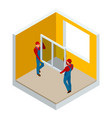 isometric installation of windows in the house or vector image