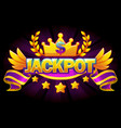 jackpot banner casino with crown and violet ribbon vector image vector image