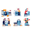 language courses characters study vector image