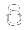 line woman face with hairstyle and expression vector image vector image