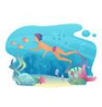 Man snorkeling swims underwater summer sport