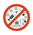 no drugs allowed drugs marijuana leaf with vector image
