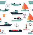 pattern of ships and boats vector image vector image