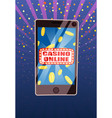 phone with casino online sign on screen vector image