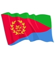 political waving flag of eritrea vector image vector image