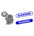 rectangle mosaic diamond thinking with distress vector image vector image