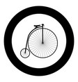 retro bicycle black icon in circle vector image