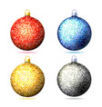 set colored sparkling glitter christmas balls vector image vector image