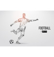 silhouette of a football player from particles vector image vector image