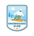 snowboard club patch concept for shirt vector image
