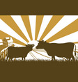 sunrise cow farm landscape vector image
