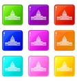 white house icons 9 set vector image vector image