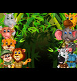 wildlife animals in green bamboo tree forest vector image vector image