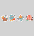 winter stickers hot drink knitted elements vector image