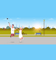 young couple using selfie stick taking photo on vector image vector image